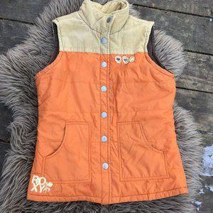 Roxy orange tan cord spring/fall vest - size L